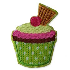 GREEN WAFER CUPCAKE MOTIF IRON ON EMBROIDERED PATCH APPLIQUE